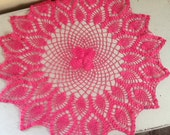 Pink Doily / Vintage Doily / Pink Doiley / Hot Pink / Romantic Pink / Pink Linens