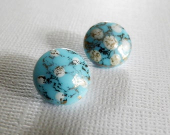 Baby Blue Glass Buttons Hand Painted