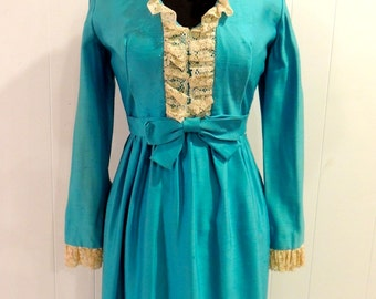 vintage lacy long aqua dress - 1960s-70s Lorrie Deb maxi dress