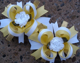 Yellow and white Boutique Hair Bows - Mini Boutique Hair Bow Set - Pigtail Hair Bow Set of 2