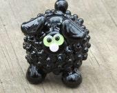 Black Ninja Sheep Lamb Ewe Lampwork Handmade SRA OOAK Glass Bead NLC Beads leteam