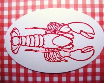 Lobster Stickers Envelope Seals Cardstock Labels Maine Coastal Beach Wedding Lobster Boil Seafood Bake Food