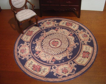 Dollhouse Aubusson round rug black miniature 1:12 scale