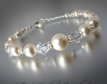Pearl and Crystal Bridal Bracelet - PRISCILLA