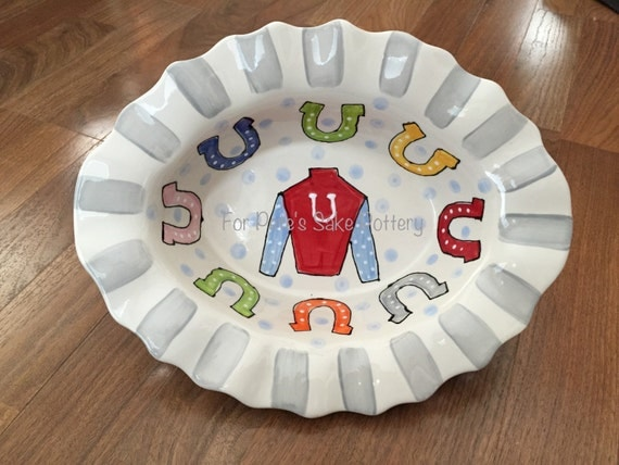 Horse racing platter,  Derby platter, Derby party platter, KY pottery dish, Derby serving dish, Derby pottery