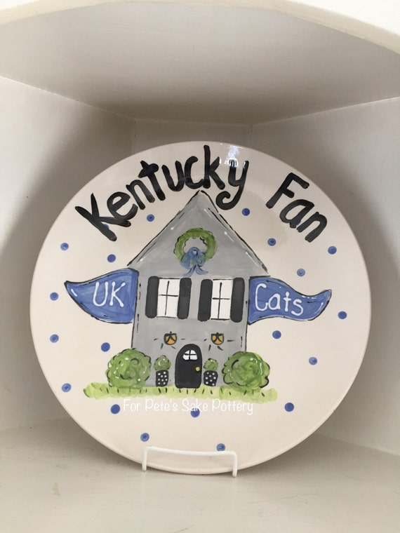 Kentucky Wildcats plate, hand painted Kentucky platter, Custom painted platter, Team platter, Family platter, Kentucky plate