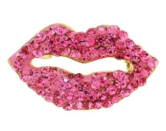 Pink Lips Crystal Brooch Pin 1010692