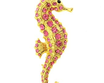 Pink Golden Seahorse Crystal Brooch Pin 1001772