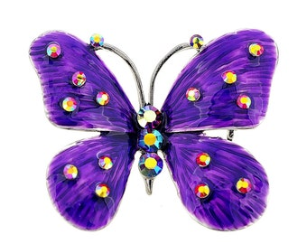 Purple Enamel Butterfly Pin Brooch and Pendant 1002174