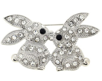 Crystal Kissing Bunny Pin 1002423