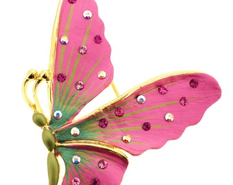 Pink Butterfly Pin Brooch And Pendant 1012951