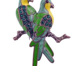 Green Couple Parrot Bird Pin Brooch 1002471