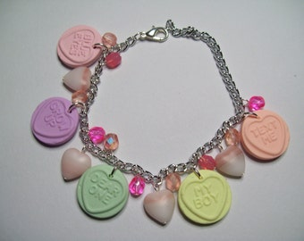 Polymer clay love hearts charm bracelet with glass pearls