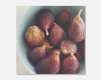 food photography, kitchen canvas art, fig photograph, kitchen decor, still life photo, fruit, plum, purple, blue, canvas wall art