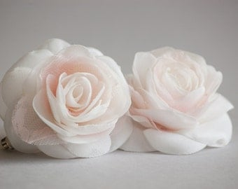 Blush bridal hair clip, Blush wedding hair accessories, Blush rose hair clips, Rustic bridal hairpiece, Blush bridal headpiece