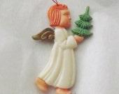 Vintage Christmas ornament angel ornament with tree ornament plastic ornament