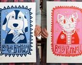 Bertie Barkaway & Betty Purwell Screenprints Pair -- Limited Edition