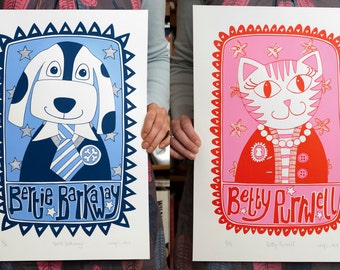 Bertie Barkaway & Betty Purwell Screenprints Pair -- Limited Edition