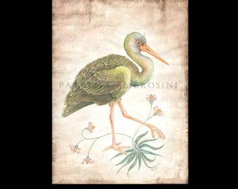 "Handpainted 8,67 x  11,82"" big  Original Watercolour  stork. NOT aPRINT ..Original Painting fine art"