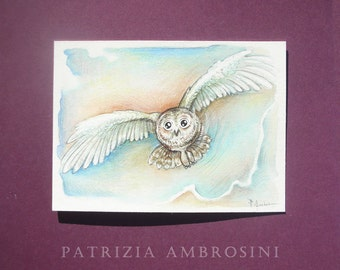 Original ACEO  flying owl  Original Painting- Watercolor- Card -collectible- fine art -OAKK