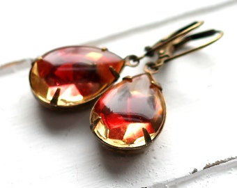 Estate Style Red Gold Glass Earrings, Antique Brass Leverback, Vintage Multicolor Glass Teardrop, Pink, Rose, Red, Yellow Czech Glass
