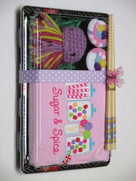 Sugar & Spice Baby Girl Sushi - Baby Onesie, Socks, Jellyfish Toy - Unique Shower Gift