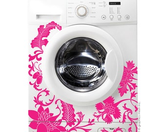 FLORAL WASHER DECOR - Domesticated Wall Decals Laundry decorating by GraphicsMesh