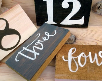 Table Numbers for wedding or special event, custom colors