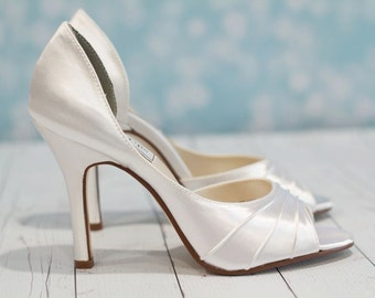 Wedding Shoes -  Heel 3.5 Inches - Bridal Shoe - High Heel Shoe - Peep Toe Shoe - Wedding Shoe Heels - White Wedding Shoe - Over 200 Colors