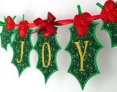"Holly Leaf Banner In The Hoop Project Machine Embroidery Designs Applique Patterns all done In-The-Hoop in 6 sizes 4"", 5"", 6"", 7"", 8"" and 9"""