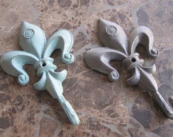 Fleur de lis bath hook/ Wall Decor hook/ cottage chic wall hook nursery decor/ coat hook french country cast iron
