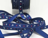Grosgrain Ribbon Anchors and Stars Print  -- 3/8 inch -- Navy Blue White Anchors Red Stars