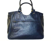 "Leather Tote Leather Bag Leather Handbag Travel Weekend Bag Julia XL in Navy blue fits a 17"" laptop"