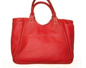 Red Leather Tote Leather Handbag Leather Bag Large Laptop Bag Shopper Travel Weekend Bag, Julia XL