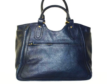 """Leather Tote Leather Bag Leather Handbag Travel Weekend Bag Julia XL in Navy blue fits a 17"""" laptop"""