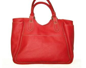 Red Leather Tote Leather Handbag Leather Bag Large Laptop Bag Shopper Travel Weekend Bag, Julia XL