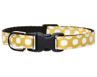 "Cat Collar - ""The Spot On - Cat Collar - Yellow with White Polka Dots"
