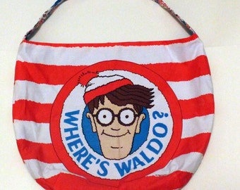Where's Waldo Purse or Bag - Find Him Find Him OMG Stripes - Shoulder Bag Style - Upcycled from vintage fabric