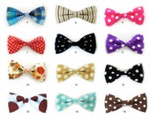 Designer detachable dog cat bowties, neckties and bandanas, many colors to choose from