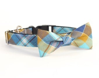 New Color! Baker Beach Plaid, Designer dog collars, Bow Tie Dog and Cat Collar Bow Tie Dog Wedding- Dog Collar, Wedding Dog Collar