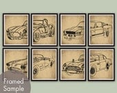 Vintage Dream Cars - Set of 8 - Art Print (Featured in Cork Board with Black) Shelby Cobra, Mustang, Aston Martin, Corvette