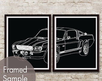1967 Mustang Shelby GT 500 Vintage Car - Set of 2 Art Prints (featured in Black) Classic Vintage Dream Car Poster Art