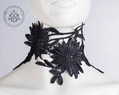 High collar / Black embroidered floral lace neck piece / Tribal fusion / Gypsy / Boho / Choker necklace / Tattoo jewelry