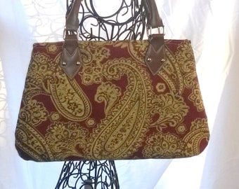 Burgundy Tan Gold Paisley Small Handbag Purse Girls Women