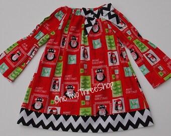 Penguin Christmas peasant dress