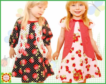 Tulip Peasant Dress Pattern for Girls + Free Mother-Daughter Apron Pattern 3/4 sleeve or short sleeve  Sewing PATTERNS for Children Toddler