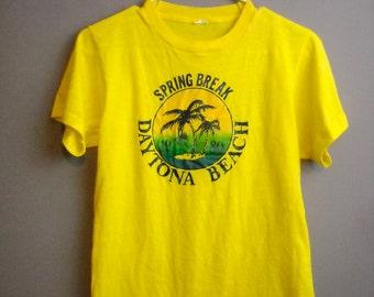Vintage Florida Tshirt // Daytona Beach Souvenir Shirt // Spring Break Yellow Graphic Tee Medium // 80s Novelty Tee