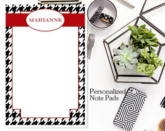Houndstooth Personalized Notepad - 53 Single Sided Sheets Available in 4 Sizes