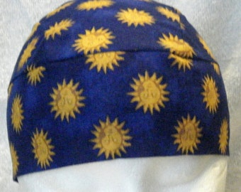 Blue Skull Cap or Chemo Cap with Sun with Face, Hair Loss, Bald, Head Wrap, Do Rag, Head Wrap, Handmade, Motorcycle, Bandana, Helmet liner
