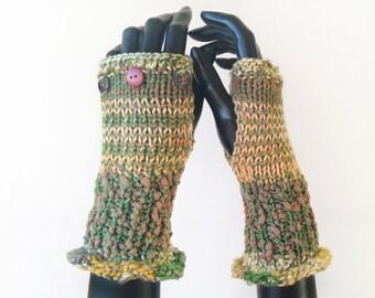 Green Fingerless Gloves - Lichen Frilly Fingers - Earthy Green Fingerless Mittens